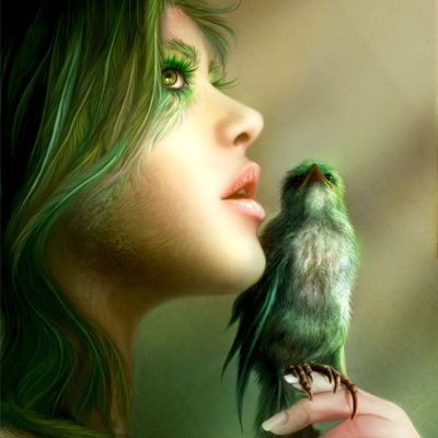 digital painting example girl and bird