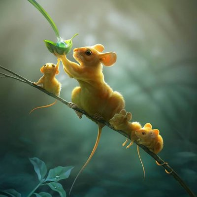 digital painting mice on a branch