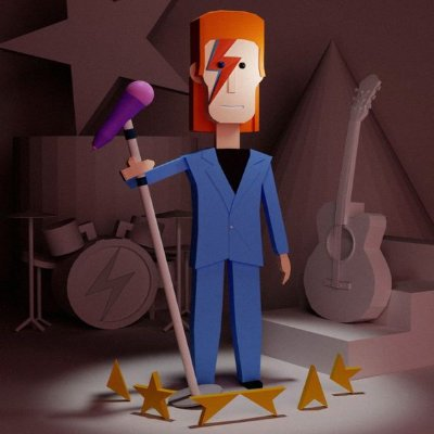 low poly david bowie