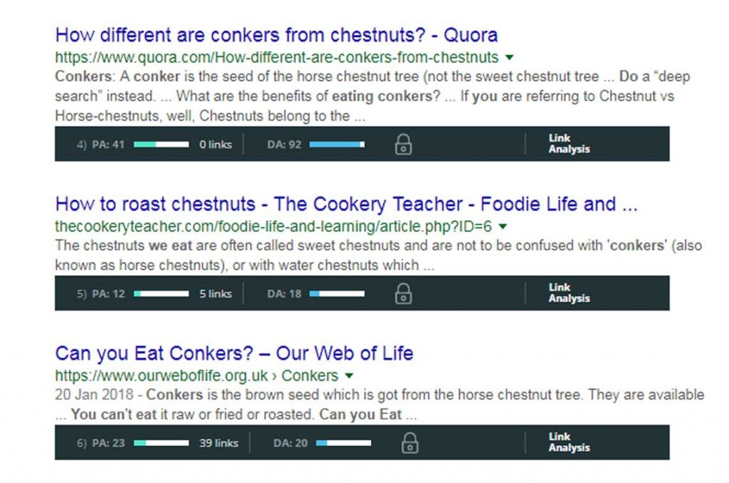mozbar search results for can you eat conkers