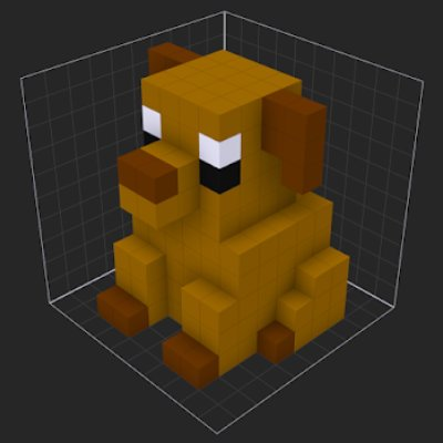 voxel art dog